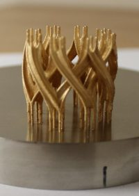 An interlocking ring made of gold